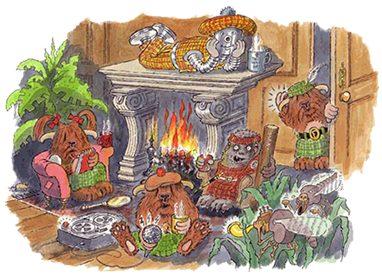 Scottish Beasties around the fireplace